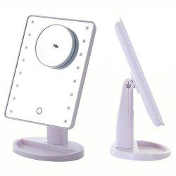 KW033 16-LED Table Mirror + 10X Magnifying Glass -