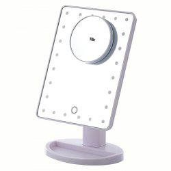 KW033 24-LED Base Table Mirror + 10X Magnifying Glass -