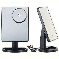 KW033 16-LED Base Table Mirror + 10X Magnifying Glass -