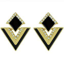 ER - 7198 Exquisite Geometry Gemstone Stud Earrings -