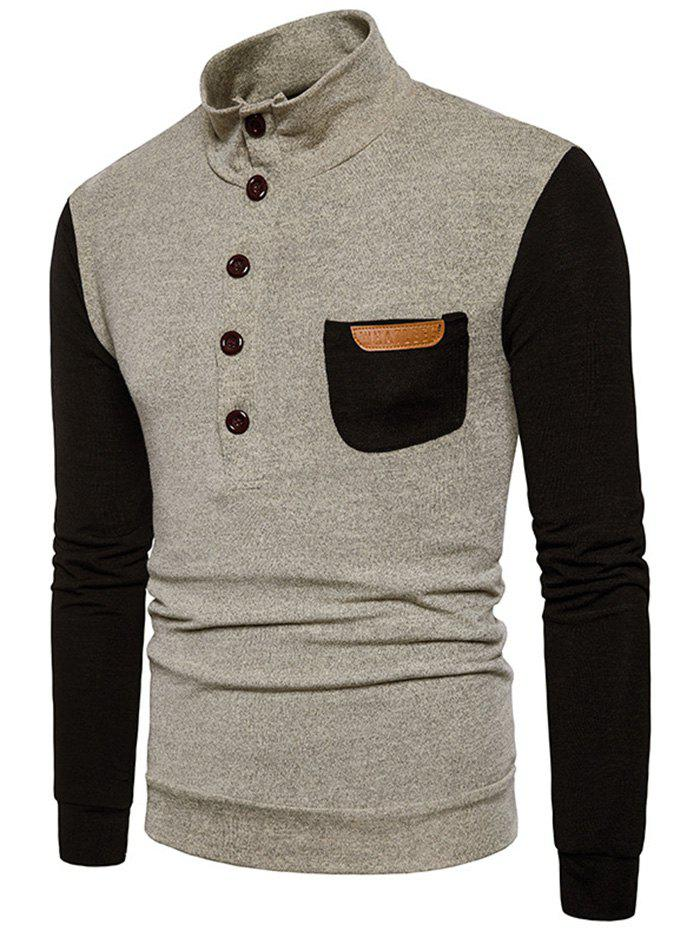 Pull homme col montant avec poche simple