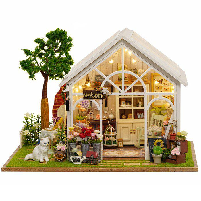 Store Sunshine Greenhouse Flower Shop DIY Dollhouse with Light Miniature Gift