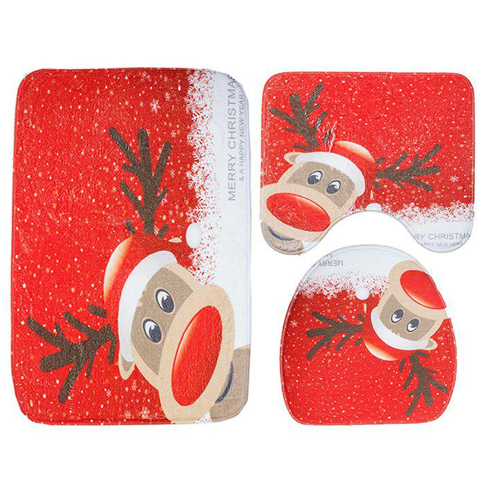 Affordable Christmas Elk Bath Rug Toilet Mat 3pcs / Set