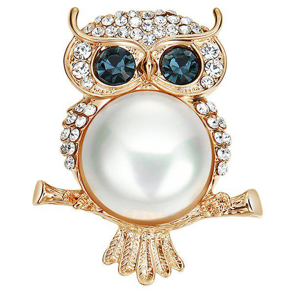 Unique Fashionable Blue-eyed Owl Design Alloy Pearl Brooch