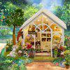 Sunshine Greenhouse Flower Shop DIY Dollhouse with Light Miniature Gift -