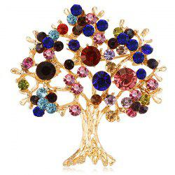 Color Crystal Tree Brooch Pin for Woman Girl -