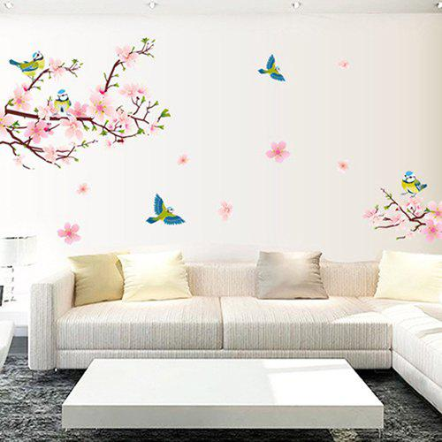 Latest Removable Living Room TV Background Peachblossom Bird Flower Wall Sticker
