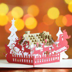 3D Creative Stereo Christmas Elk Car Greeting Card -