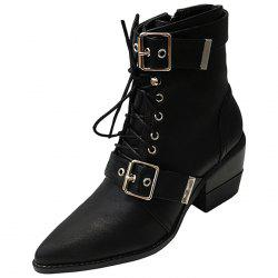 Women Boots Pointed Toe Lace-up Buckle -
