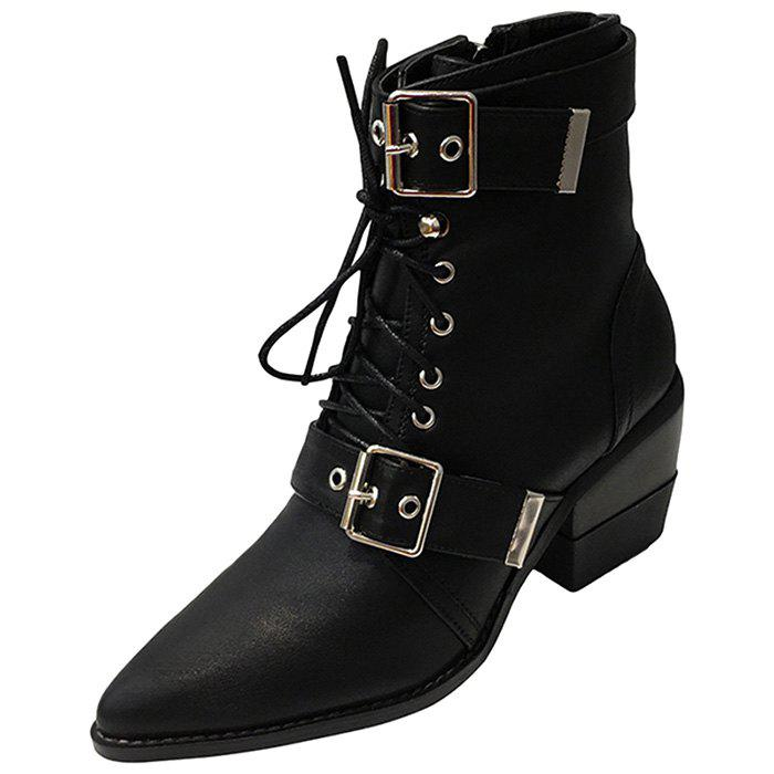 Buy Women Boots Pointed Toe Lace-up Buckle