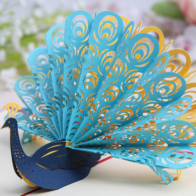 Outfits 3D Creative Peacock Design Greeting Card