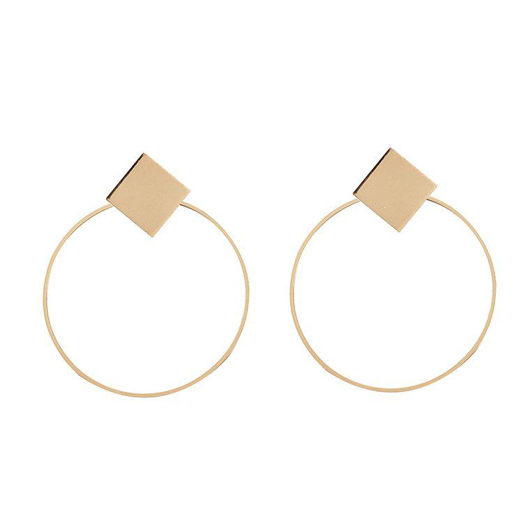 Women's Fashion Geometric Hoop Earrings, Gold