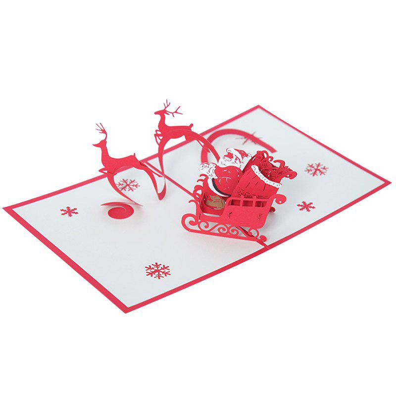 Fancy 3D Deer Car Christmas Greeting Card for Benediction