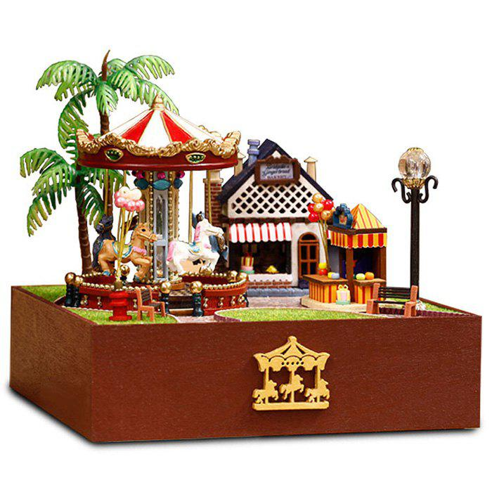 Outfit DIY Dollhouse Miniature Playground Carousel Model  Set with Music Box Light