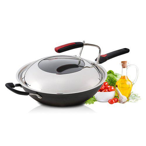 New 32cm Stainless Cast Iron Wok Without Coating No Soot Frying Pan