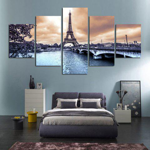 Beautiful Architectural Tower Hand Painted Oil Painting Modern Canvas For Home Decoration 5PCS