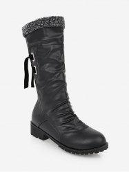 Plus Size Ruched Faux Fur Knee High Boots -