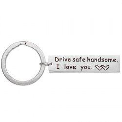 Stainless Steel Safe Driving Lettering Keychain -