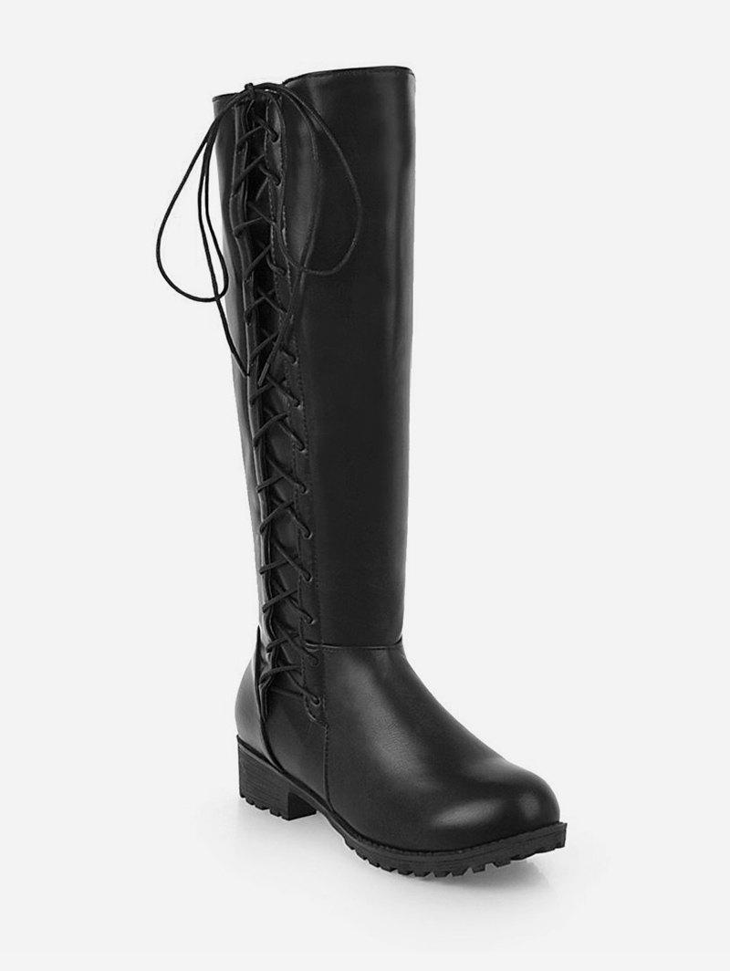Discount Plus Size Side Lace Up Knee High Boots