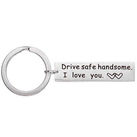 Online Stainless Steel Safe Driving Lettering Keychain