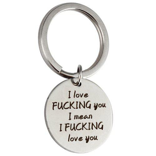 Outfit Circular Stainless Steel Love Key Chain for Lovers
