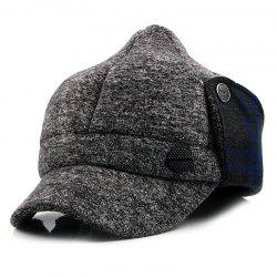 Man Knitted Warm Bomber Peaked Cap -