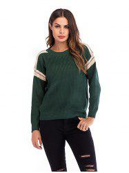 Women Round Neck Stitching Long Sleeve Pullover Sweater -