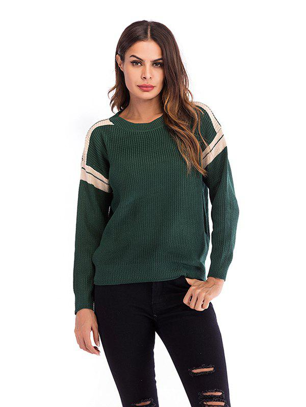 Hot Women Round Neck Stitching Long Sleeve Pullover Sweater