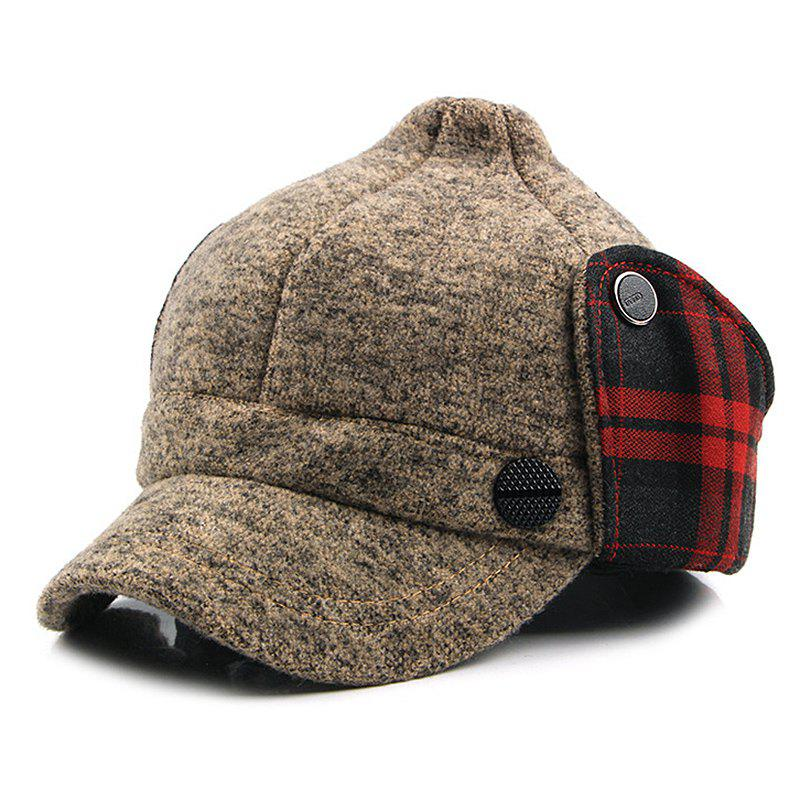 Shops Man Knitted Warm Bomber Peaked Cap
