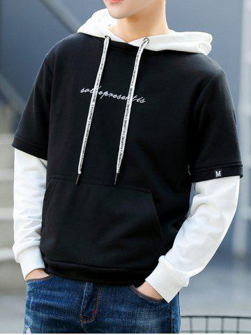 77a96ce2 Autumn Men Hooded Sweater Fake Two Pieces of Color Matching Hat Sweater