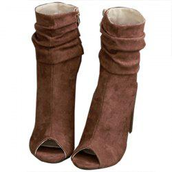 Fashion Solid color Peep-toe Suede Women Boots -