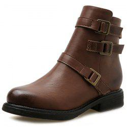 Women Belt Buckle Short Boots Thick With Medium Short Tube Locomotive Martin Boots Single Boots -