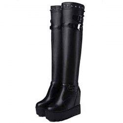 Motorcycle Boots Female Comfort Autumn Winter High-heeled Platform Handsome Knight Boots -