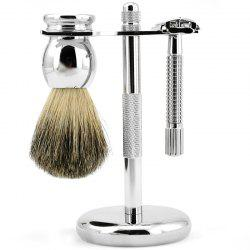 Razor Stainless Steel Holder Badger Brush Shaving Kit 3pcs -
