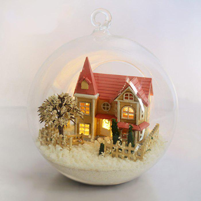 New Trendy DIY Wooden Cottage Glass Ball Dollhouse Toy Model Set
