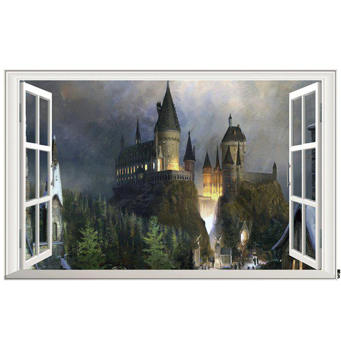 ZY14135 New Arrival 3D Ghost Castle Wall Sticker for Living Room TV Wall