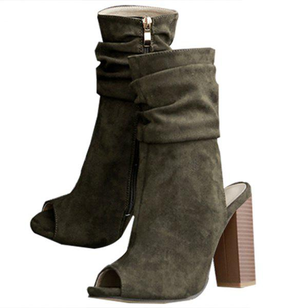 Affordable Fashion Solid color Peep-toe Suede Women Boots
