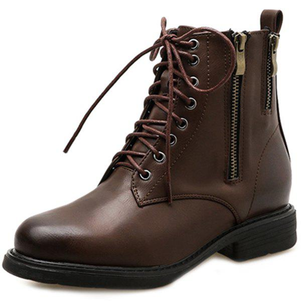 Hot Female British Wind With Short Boots Thick With Medium Short Tube Locomotive Martin Boots Single Boots