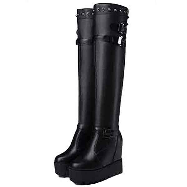 Outfit Motorcycle Boots Female Comfort Autumn Winter High-heeled Platform Handsome Knight Boots