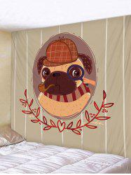 Cartoon Detective Pug Print Removable Wall Tapestry -