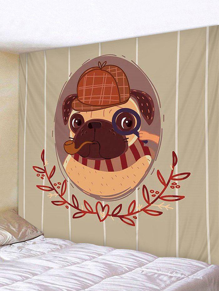 Latest Cartoon Detective Pug Print Removable Wall Tapestry
