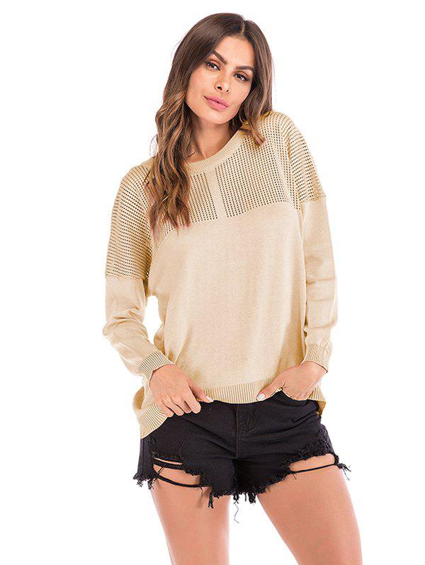 Women Round Neck Loose Hollow out Knit Pullover Sweater 299624503