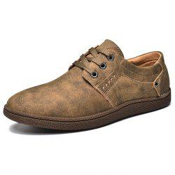 Men Comfortable Flat Shoes Lace-up Casual Leather Shoes -