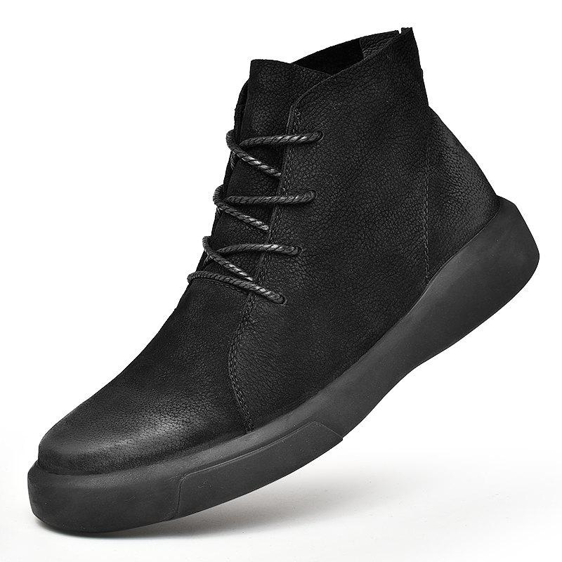 Chic Men's Fashion High Top Leather Casual Shoes