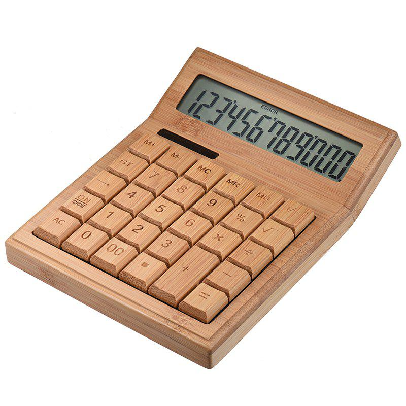 Best SP1448 CS29 Multi-function calculator 12-digit photoelectric double drive bamboo material (built-in button battery)