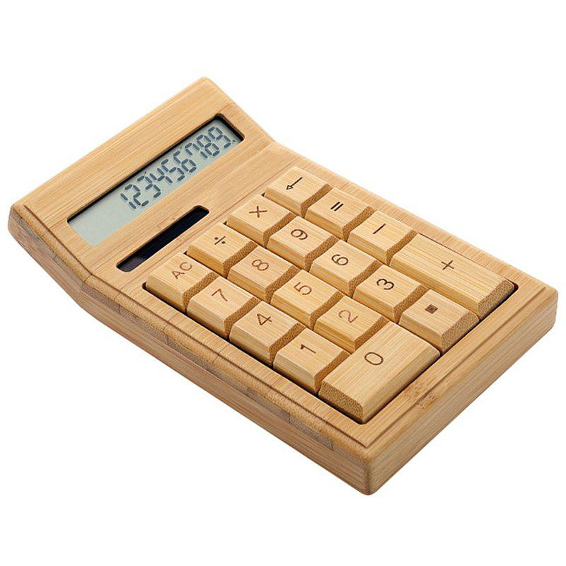 Latest SP1454 CS19 12-Digit Calculator Photoelectric Double Drive Bamboo Material ( Built-In Button Battery )