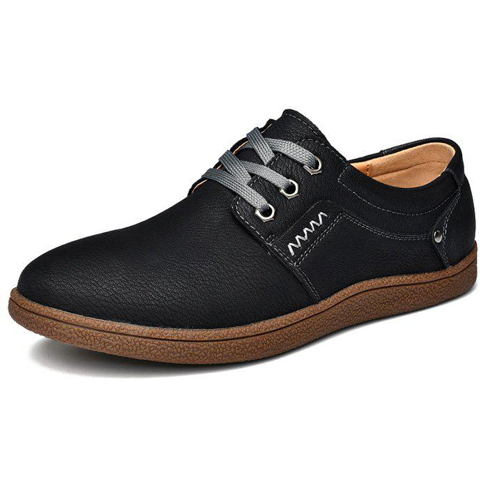 Discount Men Comfortable Flat Shoes Lace-up Casual Leather Shoes