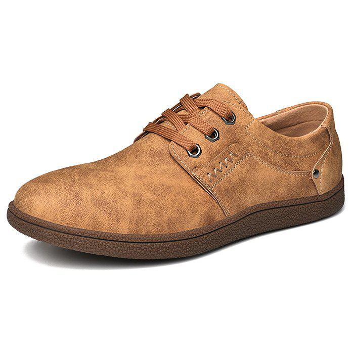 Hot Men Comfortable Flat Shoes Lace-up Casual Leather Shoes