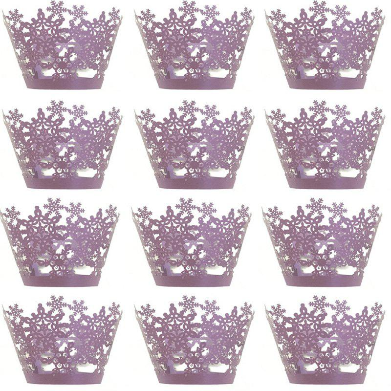 Fancy Christmas Snowflake Cake Cup for DIY Baking 12pcs
