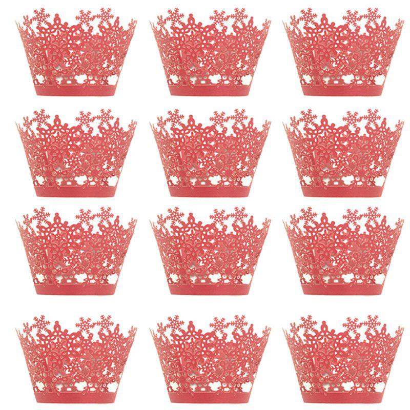 Latest Christmas Snowflake Cake Cup for DIY Baking 12pcs